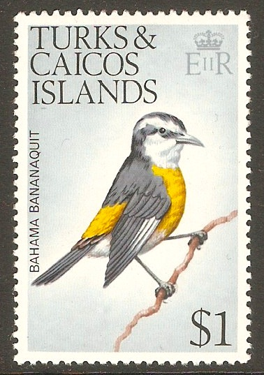 Turks and Caicos 1973 $1 Birds Series. SG462.
