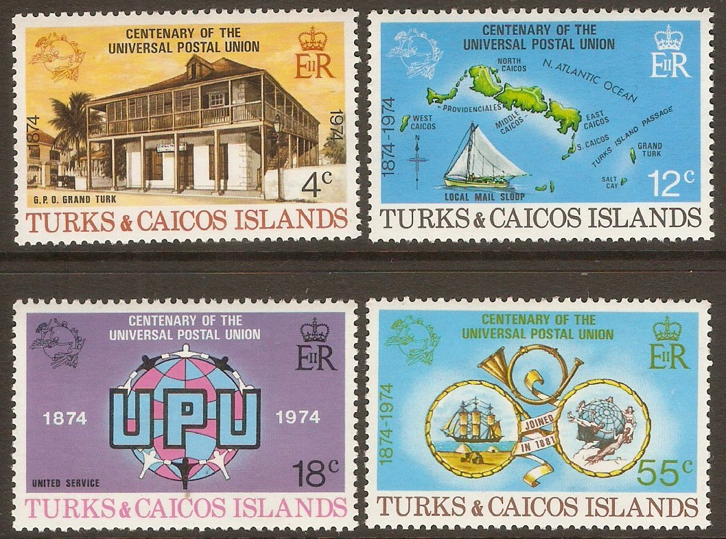 Turks and Caicos 1974 UPU Centenary set. SG426-SG429.