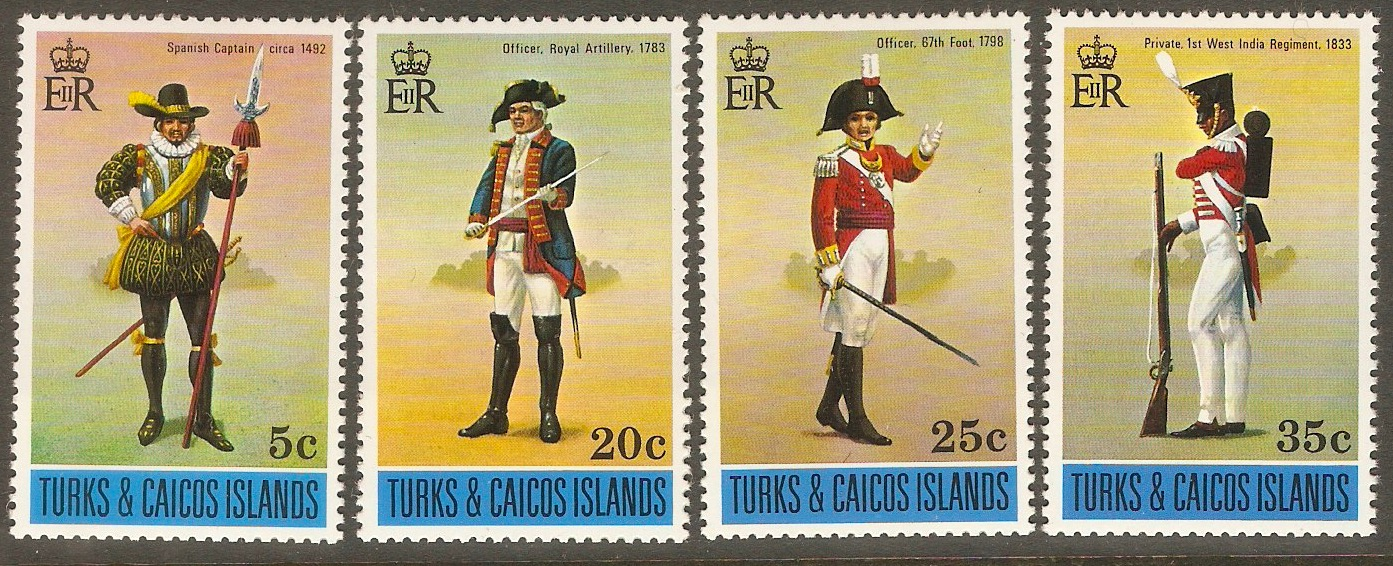 Turks and Caicos 1975 Military Uniforms set. SG433-SG436.
