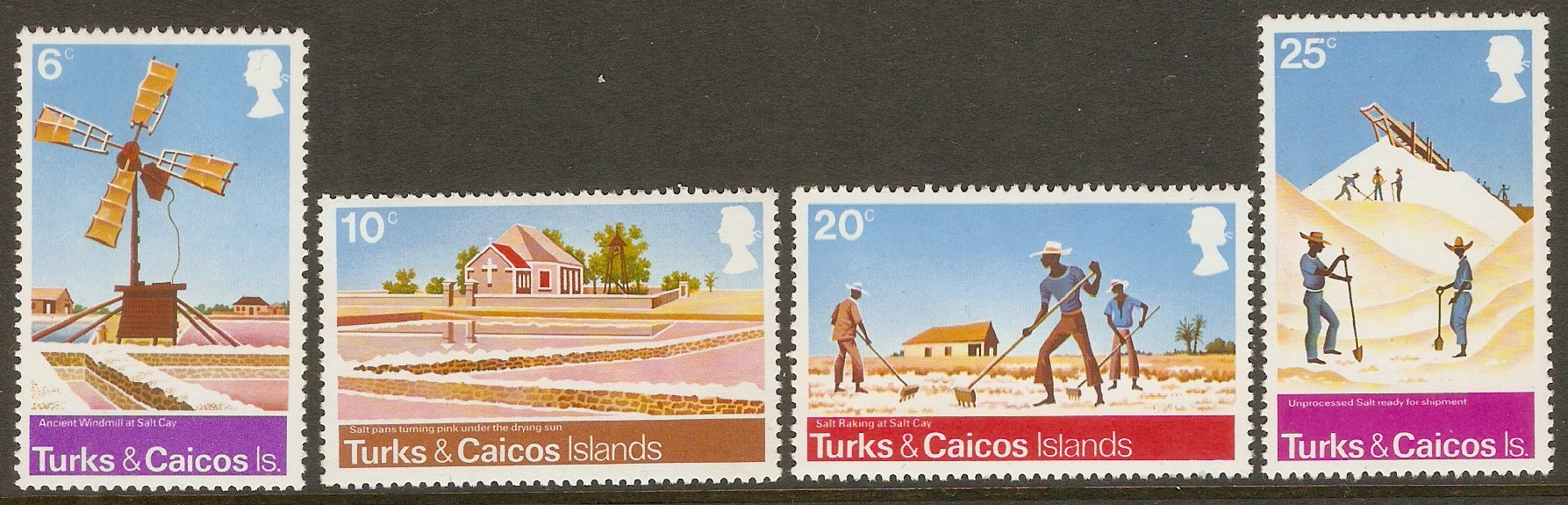 Turks and Caicos 1975 Salt-raking Industry set. SG438-SG441.