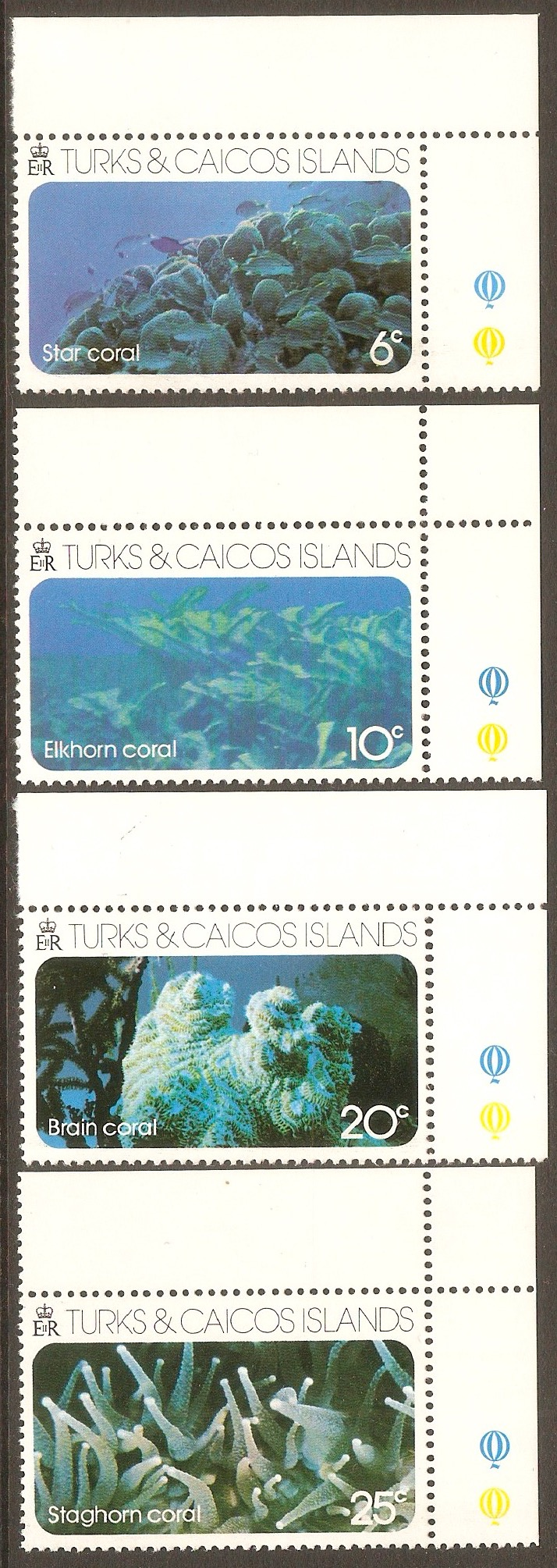 Turks and Caicos 1975 Island Coral set. SG442-SG445.
