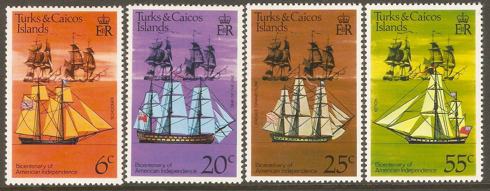 Turks and Caicos 1976 American Revolution set. SG446-SG449.