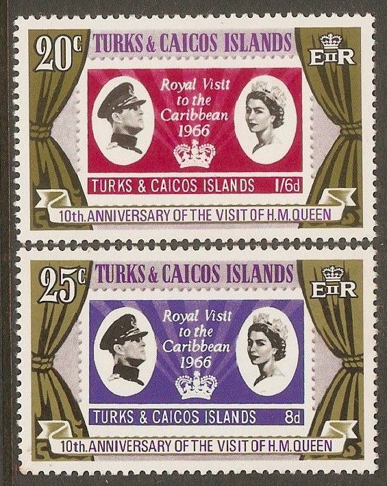 Turks and Caicos 1976 Royal Visit Anniversary set. SG466-SG467.