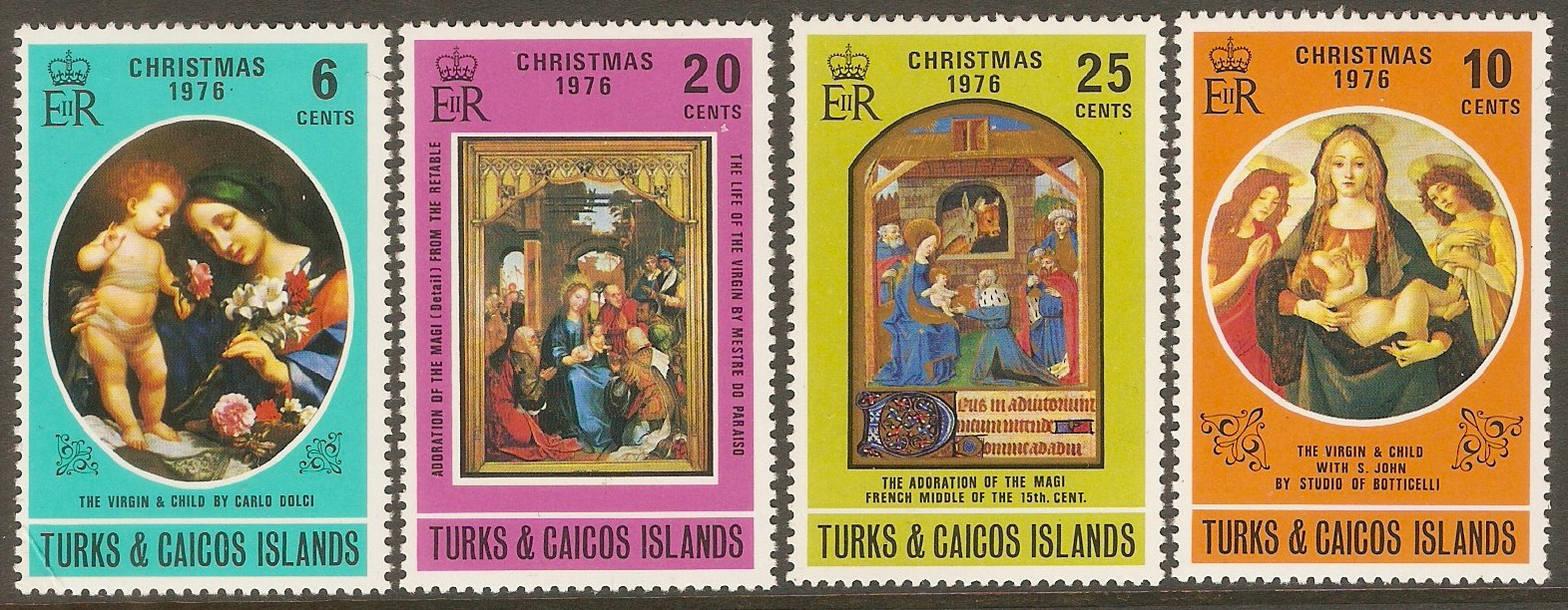 Turks and Caicos 1976 Christmas set. SG468-SG471.