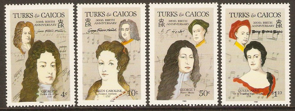 Turks and Caicos 1985 Handel Commemoration Set. SG858-SG861.