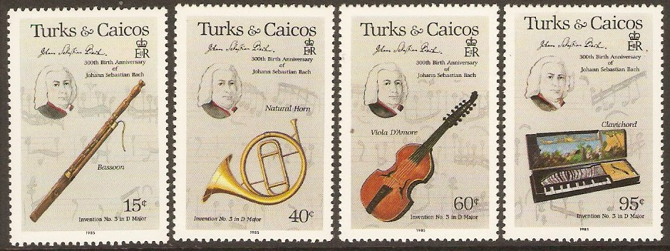 Turks and Caicos 1985 Bach Commemoration Set. SG863-SG866.