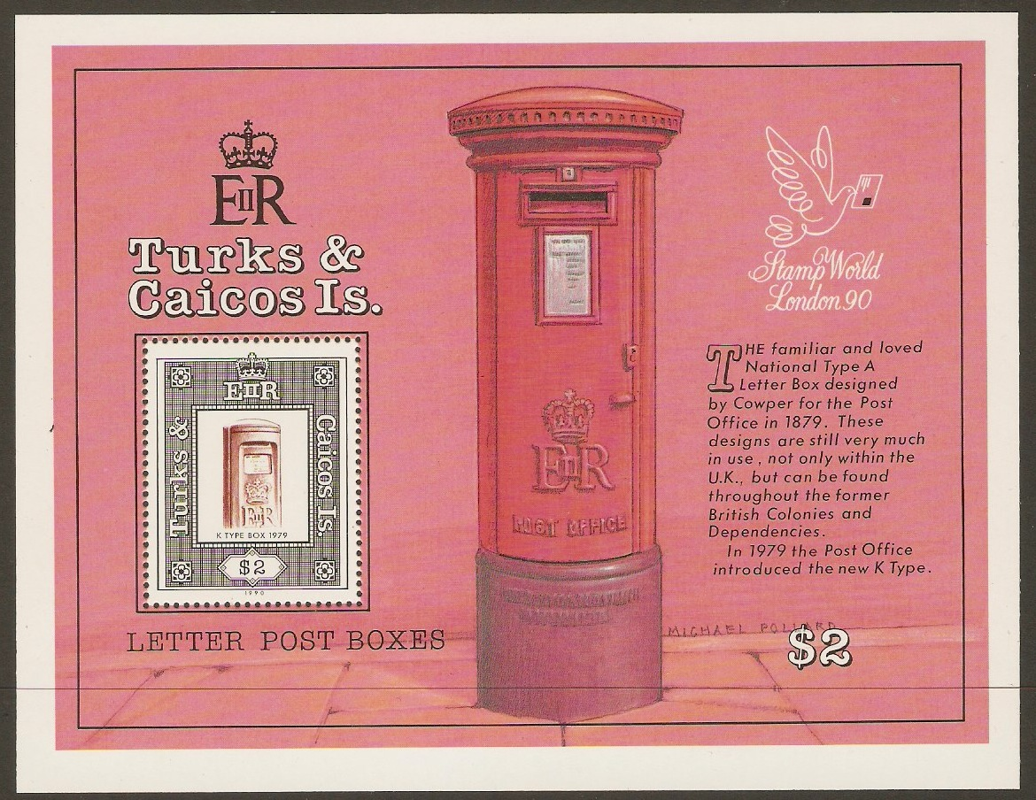 Turks and Caicos 1990 British Pillar Boxes Sheet. SGMS1044.