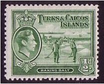 Turks and Caicos 1938 ½d Deep green. SG195a.