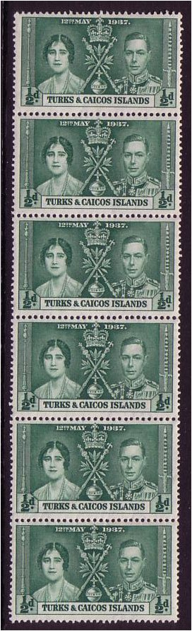 Turks and Caicos 1937 ½d Myrtle-green. SG191.