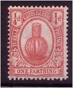 Turks and Caicos 1909 ¼d Red. SG116.