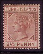 Turks Islands 1882 2½d Red-brown. SG56.