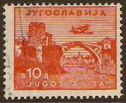 Yugoslavia 1934 10d Orange Air Stamp. SG304.