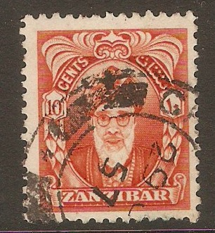 Zanzibar 1952 10c Red-orange. SG340.