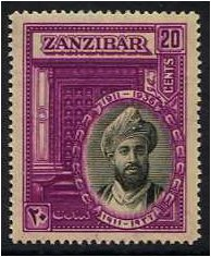Zanzibar 1936 20c. Black and Bright Purple. SG324.